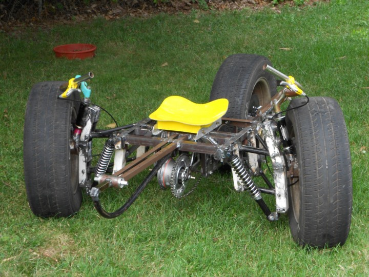 The Tadpole Trike, partially completed frame